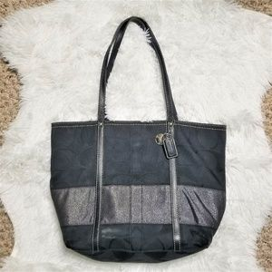 COACH Black Jacquard Canvas Shoulder Bag